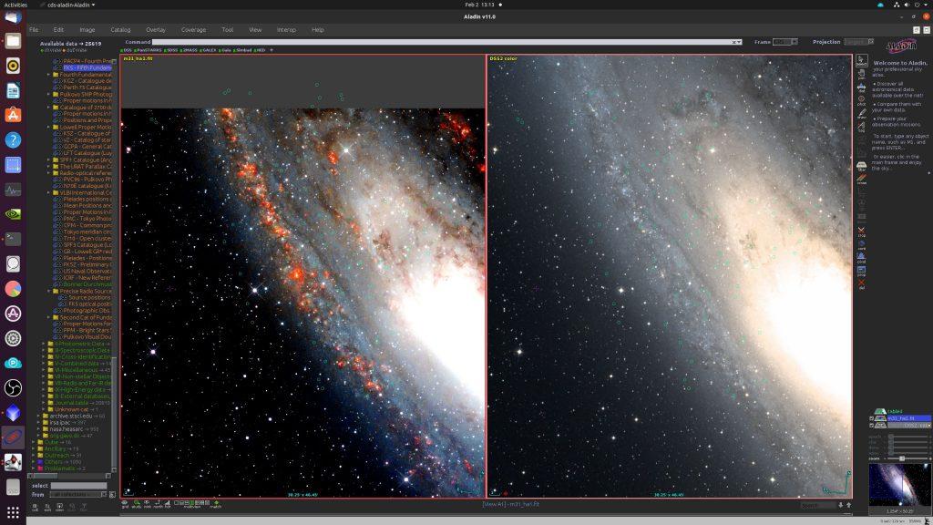 Die hellen PN aus dem Katalog sind mit grünen Kreisen gekennzeichnet. In unserem linken Bild sind alle zu finden, während sie in der Aufnahme aus dem DSS2 meist fehlen.