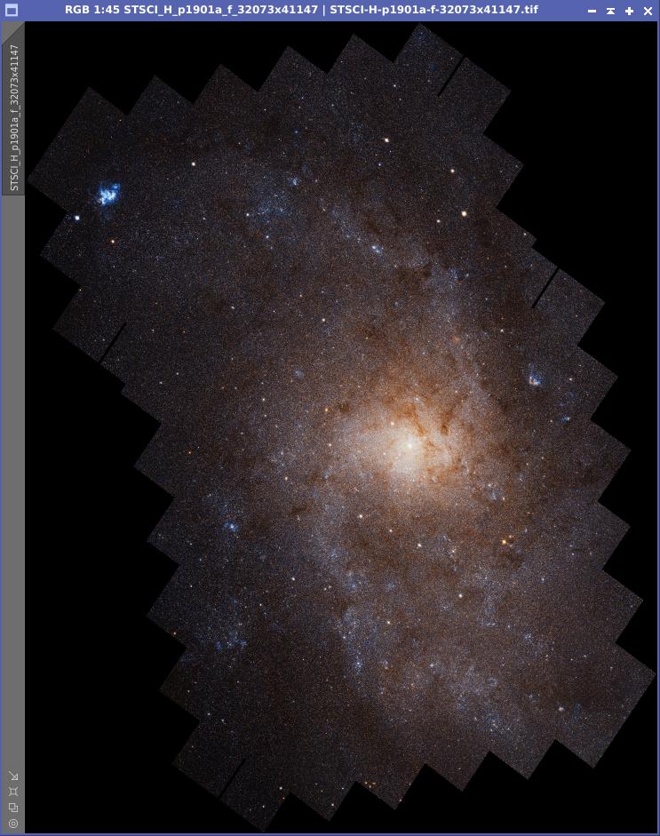 Riesiges Bild von M33. Mosaik aus 54 Teilbildern, die mit dem Hubble-Space-Teleskop gemacht wurden.