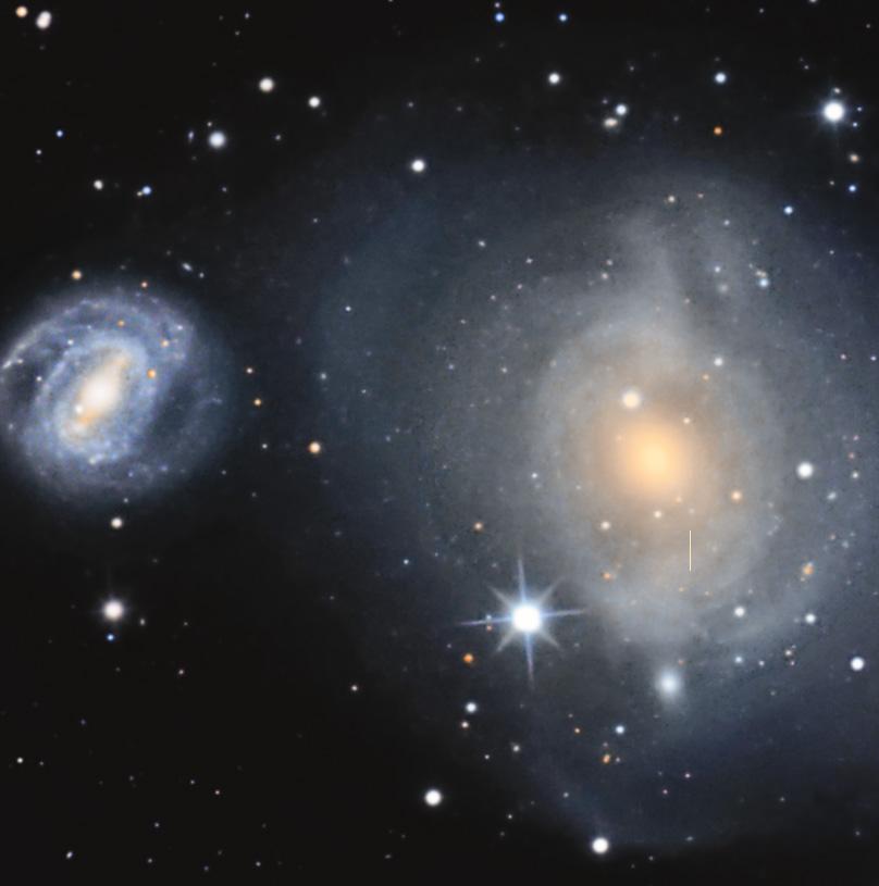 M85 und NGC4394, sowie M85-HCC1 an der markierten Stelle.
