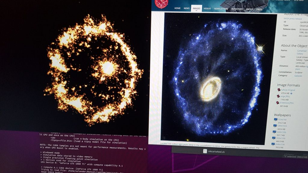 Making the cartwheel @ home. Links meine Simulation, rechts das Original mit dem Hubble Space Teleskop fotografiert.